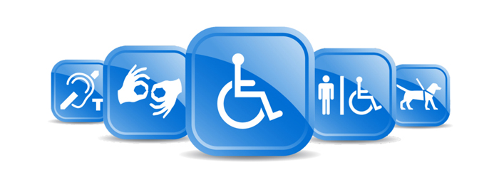 Five blue boxes, each with a graphic depicting an accessibility-related concept: hearing assistance, sign language, wheelchairs, accessible spaces, and service dogs.