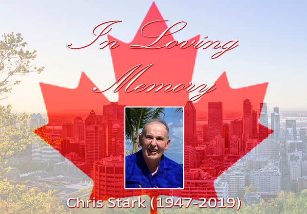 A photo of Chris Stark is superimposed on a red maple leaf. The image also reads: In Loving Memory, Chris Stark, 1947-2019.