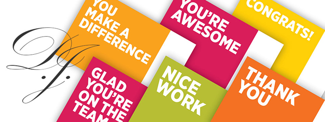 The initials 'D. J.' appear next to a series of colourful cards that say things like, 'You're awesome!' and 'Thank you!'
