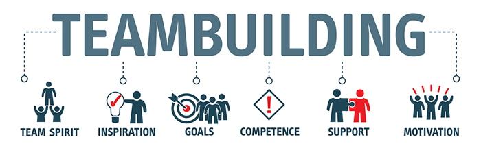 A graphic diagram of the word 'teambuilding' in big capital letters with spokes coming off it. Each spoke connects to a stick figure graphic representing a different concept: team spirit, inspiration, goals, competence, support, and motivation.