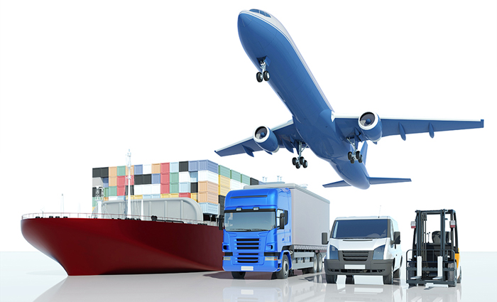 An image of a cargo boat, a plane, a transport truck, a moving van, and a forklift.